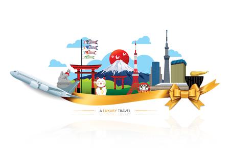viaggi: A Luxury Giappone di viaggio, destinazioni di viaggio set di icone vettoriali, nastro, aereo, nastro d'oro, elementi grafici per il viaggio in Giappone Vettoriali