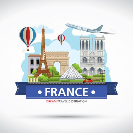 Destinos París, viajar Francia Vector conjunto de iconos, elementos gráficos Información para viajar a Francia.
