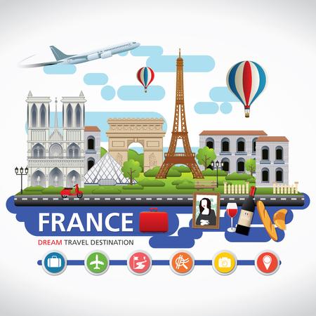 francia: Destinos París, viajar Francia Vector conjunto de iconos, elementos gráficos Información para viajar a Francia.