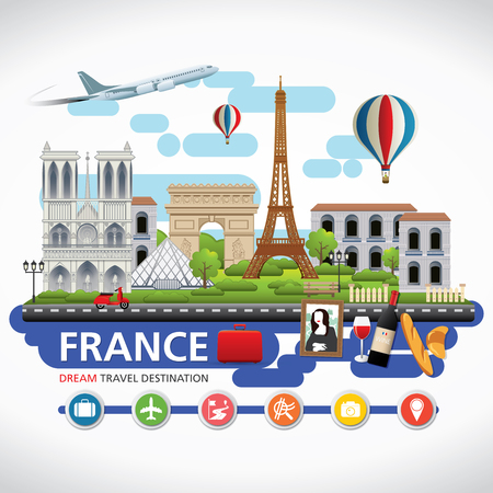 Paris,France Vector travel destinations icon set, Info graphic elements for traveling to France.