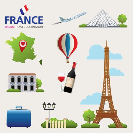 eiffel tower architecture: France Vector travel destinations icon set. France set