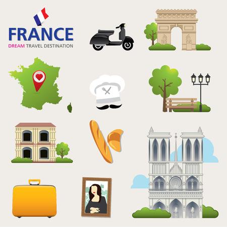 destinations: France Vector travel destinations icon set. France set