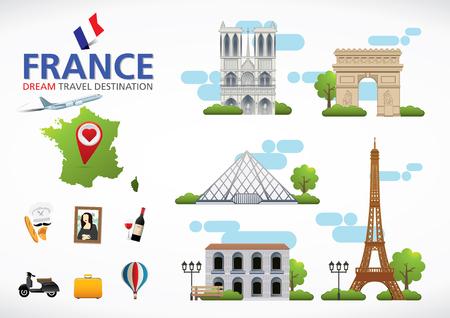 travel destination: Paris,France Travel destination concept, Travel design templates collection, Info graphic elements for traveling to France.