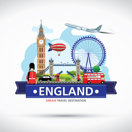 big ben tower: London, England Vector travel destinations icon set, Info graphic elements for traveling to England.