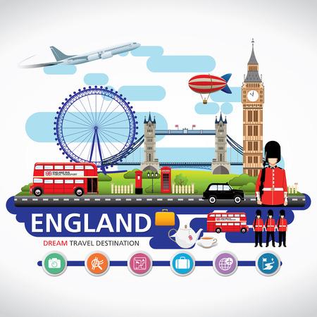 bandera uk: Destinos Londres, Inglaterra viajar Vector conjunto de iconos, elementos gráficos Información para viajar a Inglaterra.