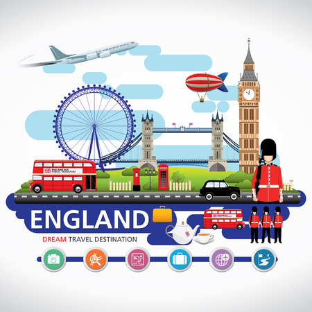 kingdoms: London, England Vector travel destinations icon set, Info graphic elements for traveling to England.