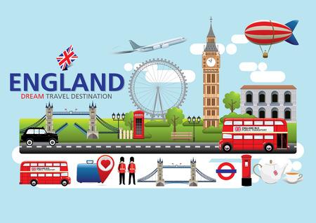 english bus: Londres, Angleterre Voyage concept de destination, Voyage modèles de conception collection, éléments graphiques Information pour voyager en Angleterre.