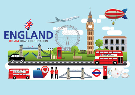 London,England Travel destination concept, Travel design templates collection, Info graphic elements for traveling to England. Illustration