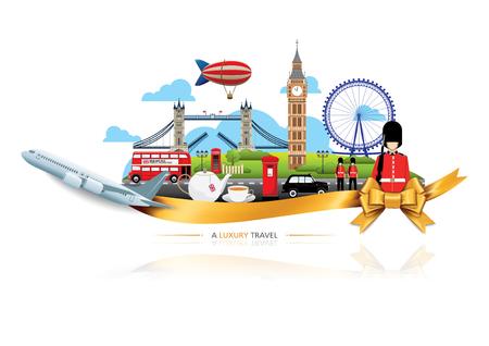 高級イギリス旅行、ベクトル旅行目的地アイコン セット、リボン、飛行機、金リボン、イギリスへの旅行のためのグラフィック要素。