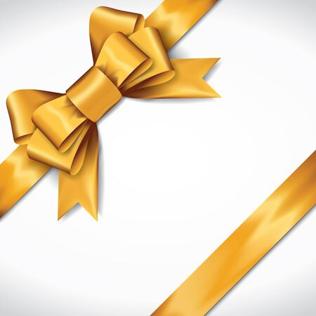 Golden gift bows with ribbons On White Background. Golden Bow. Vector Illustration. 矢量图像