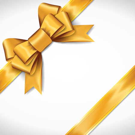 Golden gift bows with ribbons On White Background. Golden Bow. Vector Illustration. Illustration