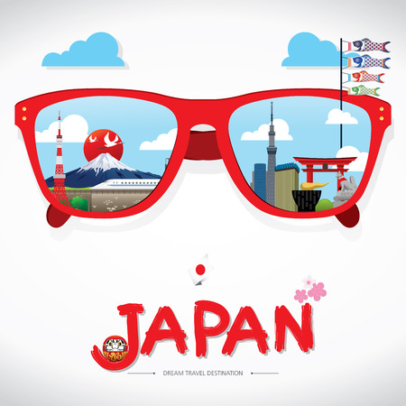 sun glass: vector sun glass with Japan icon reflection. Vector concept. Japan Icons Design Travel Destination Concept, Travel design templates collection, Info graphic elements for traveling to Japan, Vector Illustration