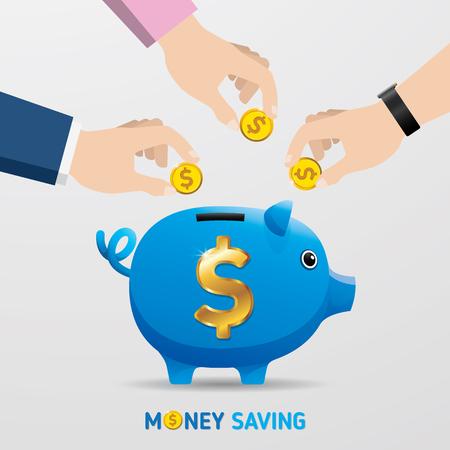Ahorrar dinero, vector de ahorro de dinero