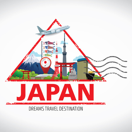 travel destination: Japan Icons Design Travel Destination Concept, Travel design templates collection, Info graphic elements for traveling to Japan, Travel stamps vector. Illustration