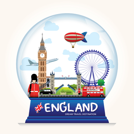 london tower bridge: Snowball England vector. Country England travel vacation guide of goods, places and features. Set of Info graphic Element  icon  Symbol , Vector Design