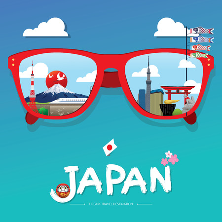 vector sun glass with Japan icon reflection. Vector concept. Japan Icons Design Travel Destination Concept, Travel design templates collection, Info graphic elements for traveling to Japan, Vector Illustration