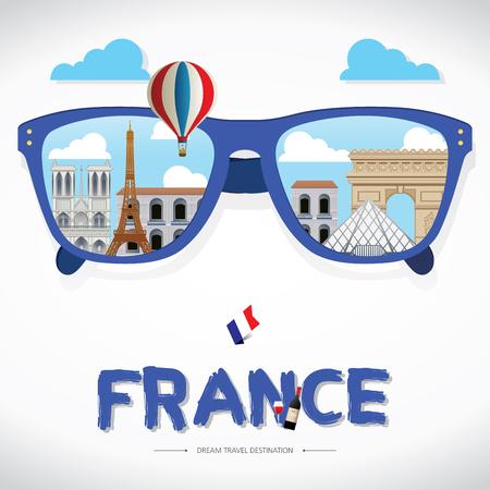 フランス アイコン反射ベクトル太陽ガラス。ベクトルの概念。パリ, フランス ベクトル旅行目的地アイコンは、フランスへの旅の情報グラフィック