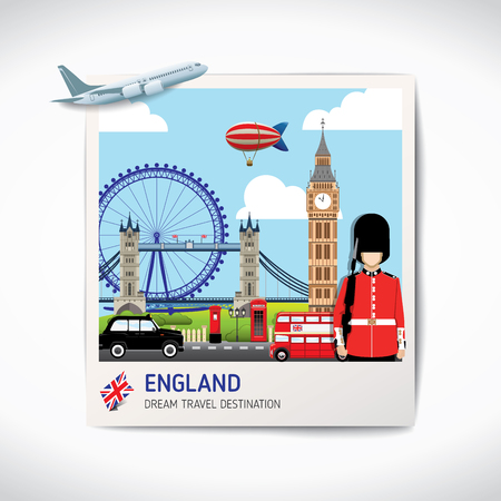 England photo travel destinations icon set concept vector, Info graphic elements for traveling to England. Travel concept vector.