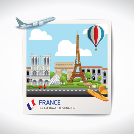 France photo travel destinations icon set concept vector, Info graphic elements for traveling to France. Travel concept vector.