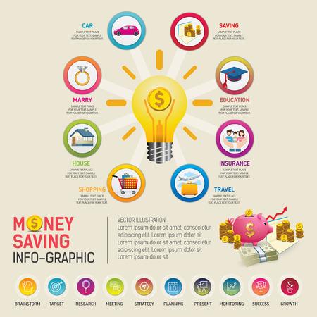 Geld Sparen Planung Infografiken Vorlage. Goldene Münzen In Ein Rosa ...