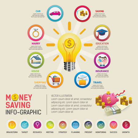 Money saving planning infographics template. Golden coins putting into a pink piggy bank. template for workflow layout, banner, diagram, number options, web design, timeline.
