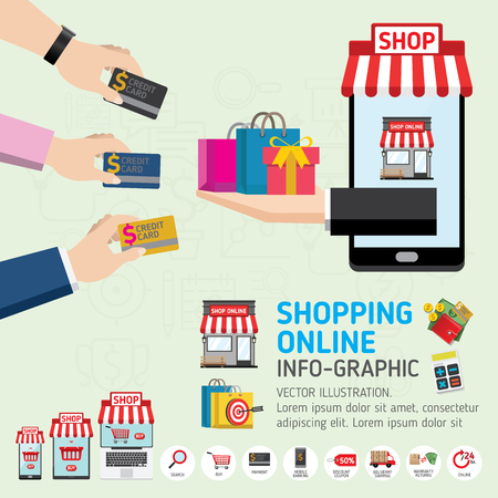 Online shopping concept. Mobile payments. vector illustration. Can be used for workflow layout template, banner, marketing, infographics.