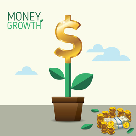 financial adviser: Money Growth. Money Tree. Financial growth concept. for business, marketing, creative, web and graphics concept Illustration