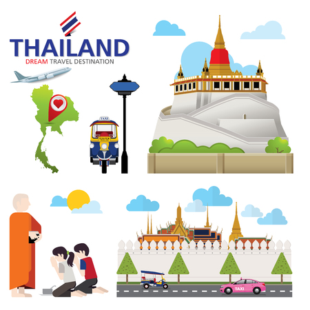 A vector illustration of Info graphic elements for traveling to Thailand, concept Travel to Thailand. Info graphic Element  icon  Symbol , Vector Design Illustration