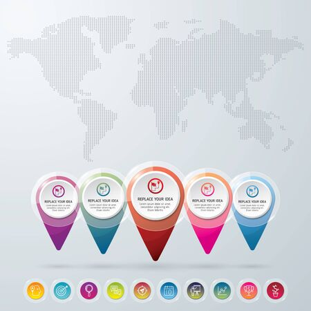 World map with location icons. Check in location on the map diagram infographics. Vector illustration. Vector background.  イラスト・ベクター素材