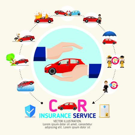 Car insurance business service icons template. Can be used for workflow layout, banner, diagram, number options, web design, timeline, info graphics.Vector illustration. Illusztráció