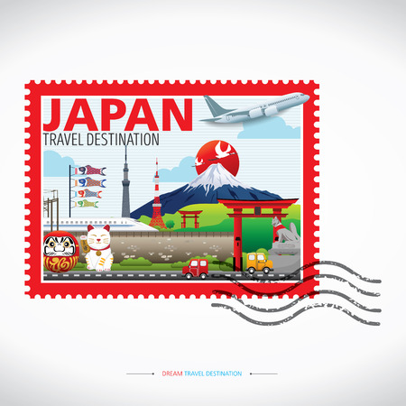 Japan Icons Design Travel Destination Concept, Travel design templates collection, Info graphic elements for traveling to Japan. Travel stamps Vector.