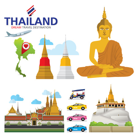 A vector illustration of Info graphic elements for traveling to Thailand, concept Travel to Thailand. Info graphic Element / icon / Symbol , Vector Design