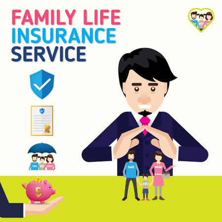 Family insurance business service icons template. Can be used for workflow layout, banner, diagram. Vector illustration.  イラスト・ベクター素材