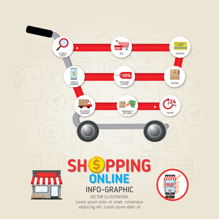 Online shopping concept. Hand holding smartphone. Mobile payments vector illustration. Can be used for workflow layout template, banner, marketing, infographics.