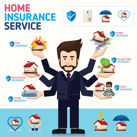 Home and House insurance business service icons template. Can be used for workflow layout, banner, diagram, number options, web design, timeline, infographics.Vector illustration.