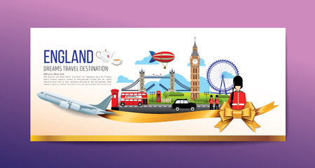 A Luxury England travel, Vector travel destinations icon set, Ribbon, airplane, gold ribbon, graphic elements for traveling to England. Modern flat design. EPS 10. Colorful.