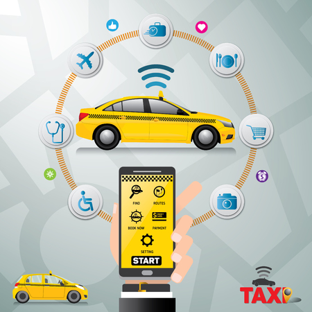 Public taxi service application. Mobile Taxi business service icons template. Can be used for workflow layout, banner, diagram, number options, web design, timeline, infographics.Vector illustration.