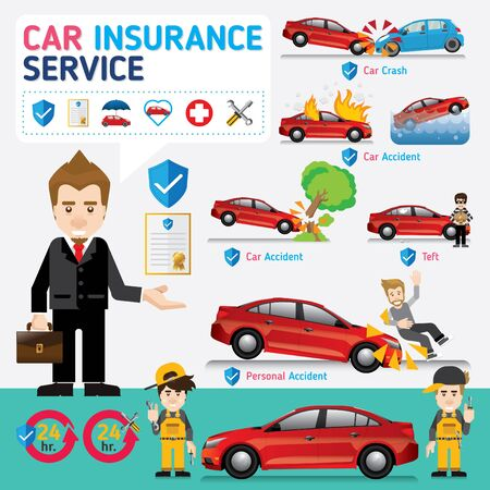 Car insurance business service icons template. Can be used for workflow layout, banner, diagram, number options, web design, timeline, info graphics.Vector illustration.  イラスト・ベクター素材