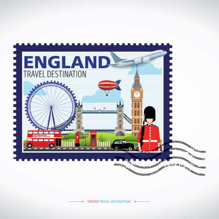 London, England Vector travel destinations icon set, Info graphic elements for traveling to England. Travel stamps Vector.