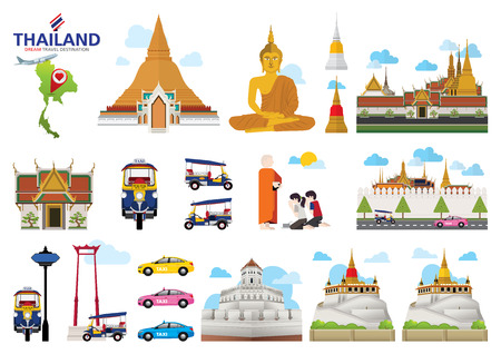 A vector illustration of Info graphic elements for traveling to Thailand, concept Travel to Thailand. Info graphic Element  icon  Symbol , Vector Design Иллюстрация