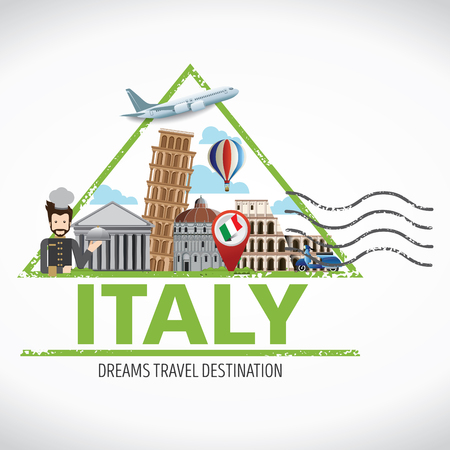 Italy Travel destination concept, Travel design templates collection, Info graphic elements for traveling to Italy. Travel stamps
