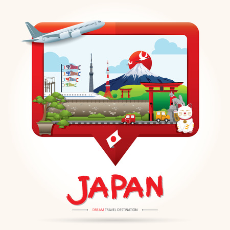 Travel and Tourism Check in icon concept. Japan Icons Design Travel Destination Concept, Travel design templates collection, Info graphic elements for traveling to Japan. Travel vector. Illusztráció