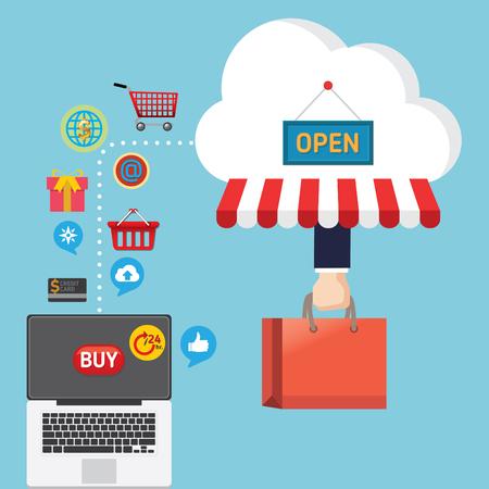 Mobile marketing concept idea with flat icons. Vector illustration. Set of flat design concept icons for online shopping. Illusztráció