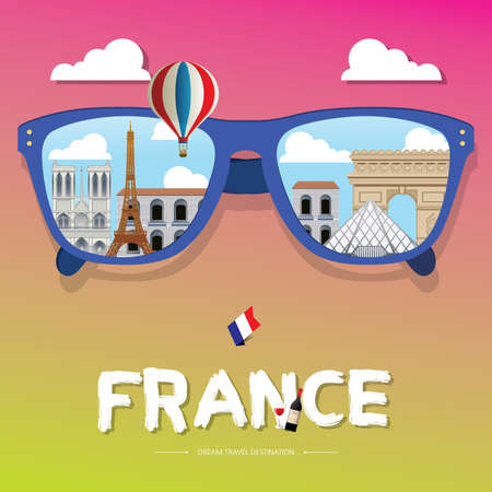 sun glass: vector sun glass with France icon reflection. Vector concept. Paris,France Vector travel destinations icon set, Info graphic elements for traveling to France.