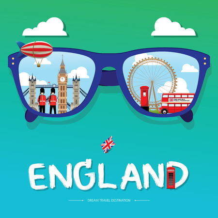 sun glass: vector sun glass with England icon reflection. Vector concept. London, England Vector travel destinations icon set, Info graphic elements for traveling to England.
