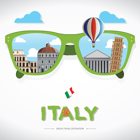 sun glass: vector sun glass with Italy icon reflection. Vector concept. Italy Travel destination concept, Travel design templates collection, Info graphic elements for traveling to Italy.