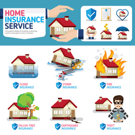 fire damage: Home insurance business service icons template. Can be used for workflow layout, banner, diagram, number options, web design, timeline, infographics.Vector illustration.