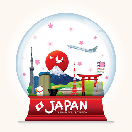 Snowball Japan vector. Country Japan travel vacation guide of goods, places and features. Set of Info graphic Element / icon / Symbol , Vector Design