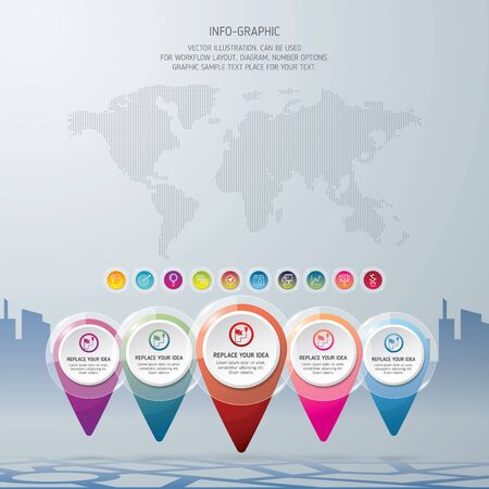 Check in location on the map diagram infographics. Location concept design.