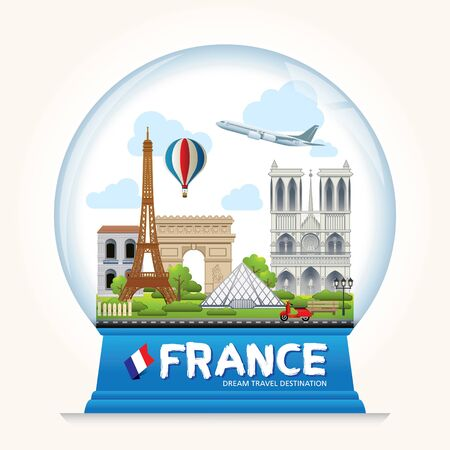 France Icons Design Travel Destination Concept, Travel design templates collection, Info graphic elements for traveling to France. Snowball Vector